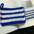 アクリルたわし ボーダー 編み込み模様 長編み
