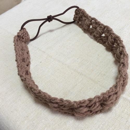 かぎ針編みで簡単なカチューム 輪のヘアゴムを使った簡単な作り方