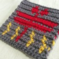 アクリルたわし 編み込み模様 秋 トンボ