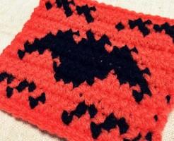 ハロウィン 編み込み模様 こうもり