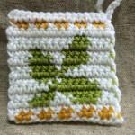 かぎ針編み 編み込み模様 葉っぱ アクリルたわし