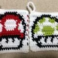 かぎ針編み 編み込み模様 アクリルたわし きのこ