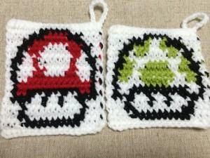 アクリルたわし マリオ きのこ 編み込み模様 かぎ針編み