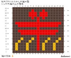 編み込み模様 かぎ針編み 編み図 トンボ