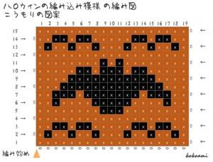 ハロウィン 編み図 こうもり 編み込み模様 図案