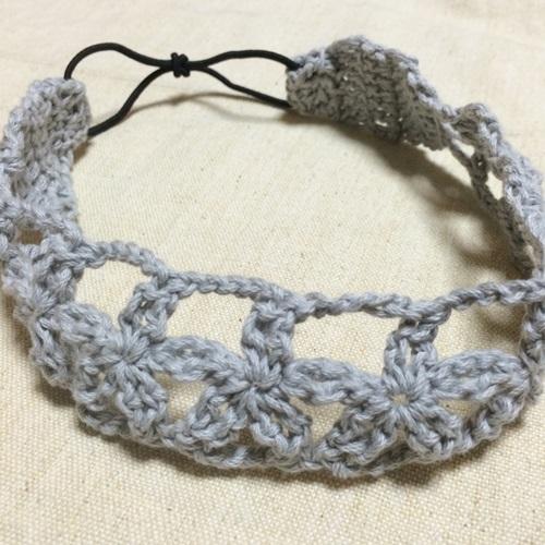 手作りの花のカチューム2 かぎ針編みで花柄模様の大人用カチューム