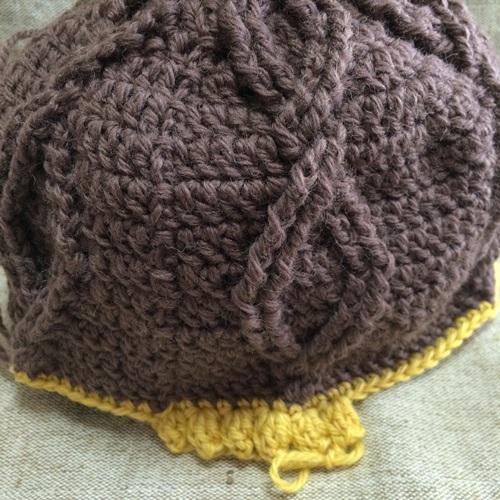 フェリシモのかぎ針編みキット 手編みのアラン模様風ニット帽子の経過