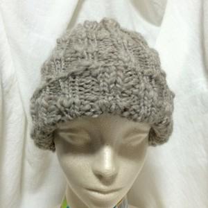 手編み ニット帽 帽子 ビーニー ワッチキャップ 毛糸 輪針 棒針編み 簡単