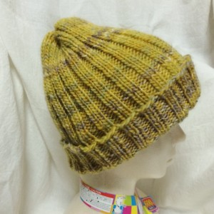 ニット帽 帽子 手編み 棒針編み 輪針 極太 二目ゴム編み 簡単 初心者