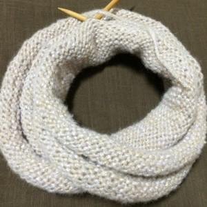 手編み スヌード 輪針 棒針編み メリヤス編み 毛糸 ピエロ ジュエル ラメ入り