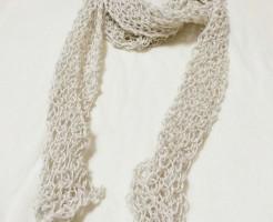 夏用 ストール 棒針編み 透かし編み メリヤス編み ショール 長方形 麻 綿麻 コットン 手編み 100均 100円ショップ キナキナリ ごしょう