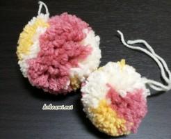 ポンポン 毛糸 ポンポンメーカー セリア 100均 作り方 巻き方 2色 3色 マルチカラー