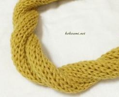 ダイソー 毛糸 ヘアバンド 100均 手編み 棒針編み 簡単 メリヤス編み 機械編み あみむめも