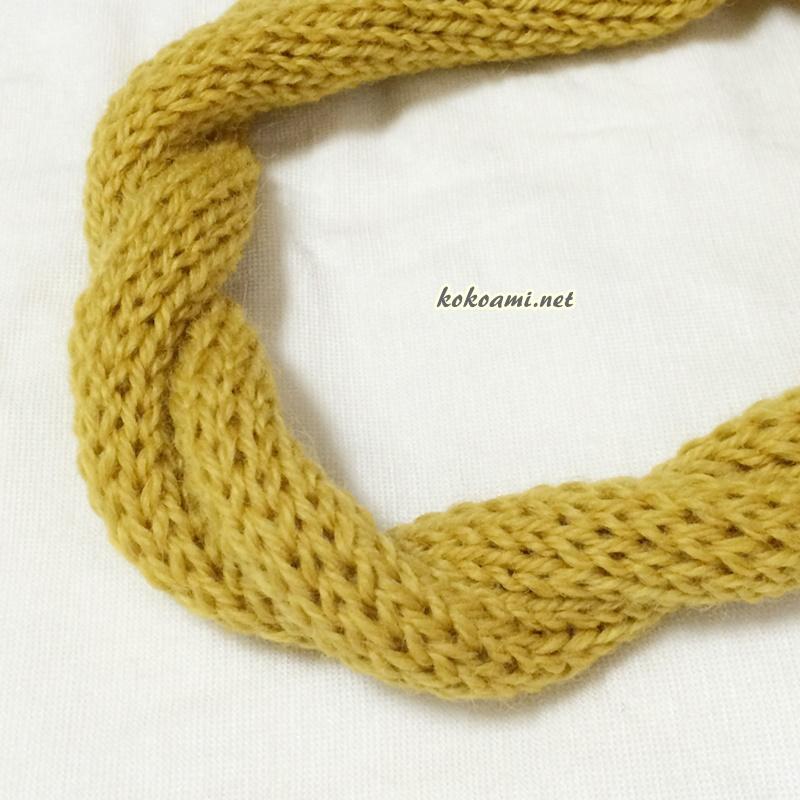 100均ダイソーの毛糸で棒針編みの簡単ヘアバンド あみむめもの機械編みで