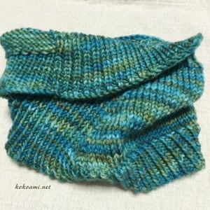 棒針編み プレゼント メンズ ネックウォーマー ラベリー ヴィントシーフ 手編み 簡単 カウル 編み図 緑