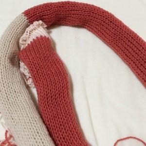 あみむめも 作品 スヌード 機械編み ダイソー 毛糸 100均 棒針編み