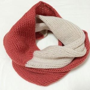 スヌード 機械編み あみむめも 作品 手作り 簡単 棒針編み 100均 毛糸 ダイソー ツートン