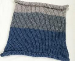 ネックウォーマー 機械編み あみむめも ボーダー シンプル メリヤス編み 棒針編み カウル シンプル グレー