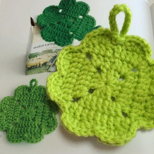 アクリル毛糸で簡単に手作り クローバーのエコたわしが可愛い