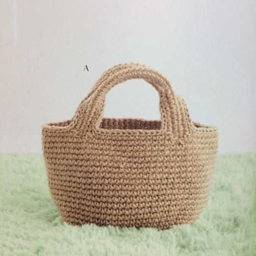 夏が終わるのに本で見た麻紐のかぎ針編みのバッグを作りたい!