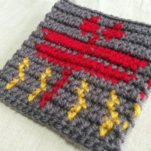 秋のアクリルたわし トンボのかぎ針編みの編み込み模様の編み図